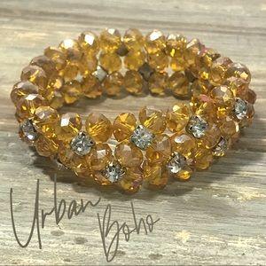Rhinestone metallic irredescent stretch bracelet